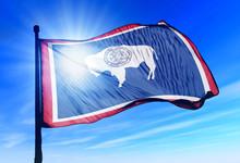 Wyoming (USA) Flag Waving On T...