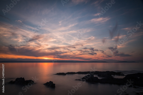 Spoed Fotobehang Aubergine Belfast Lough Sunset