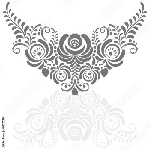 Fotografija  Ornate elegant vector floral frame in Gzhel style