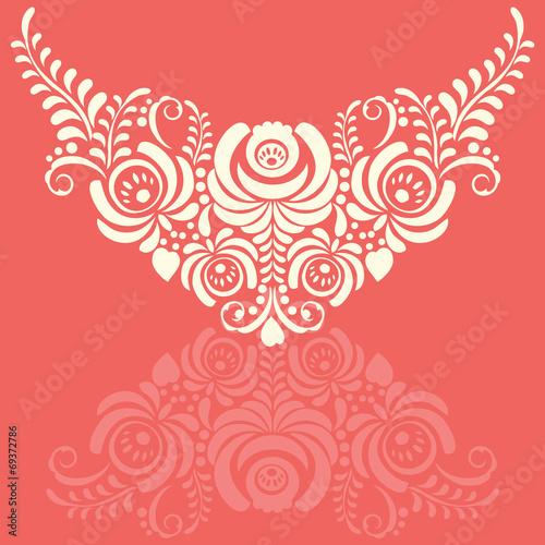 Ornate elegant vector floral frame in Gzhel style Slika na platnu