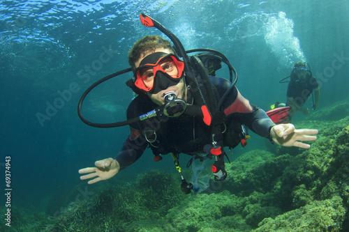 Canvas Prints Diving Scuba Diver
