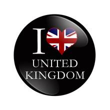 I Love United Kingdom Button