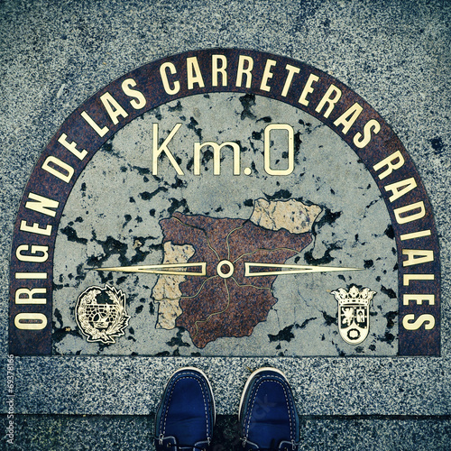 Kilometre Zero point in Puerta del Sol, Madrid, Spain, with a re Canvas Print