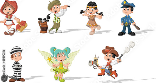 Photo  Group of cartoon kids wearing different costumes