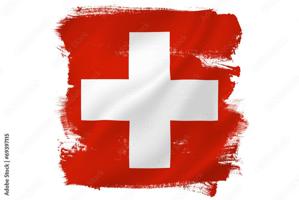 Fototapeta Swiss cross red flag