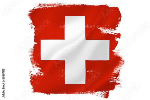 Fotografie, Obraz  Swiss cross red flag