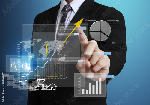 Fotografía  Touch Screen financial symbols