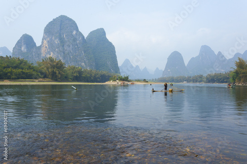 Poster Guilin Li River scenery sight with fog in spring, Guilin, China