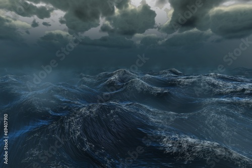 Rough stormy ocean under dark sky Fototapeta
