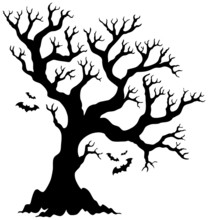 Silhouette Halloween Tree With...