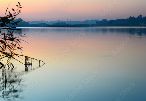 City on the water View of calm water surface Ukraine
