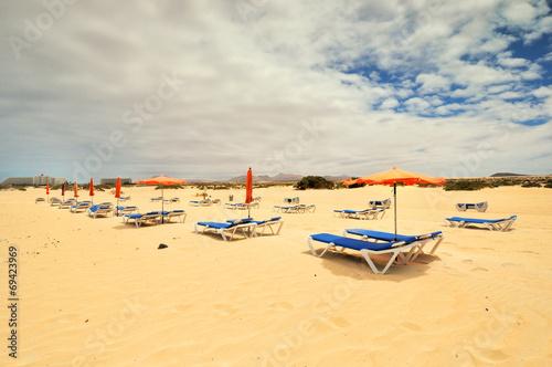 Fotobehang - Wyspy kanaryjskie, Fuerteventura, Corralejo,Hiszpania, plaża