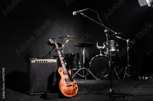 Set of musical instruments during concert - 69427596