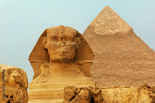 Deurstickers Egypte The Sphinx and Pyramids