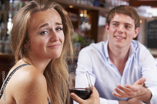 Photo Couple On Unsuccessful Blind Date In Restaurant