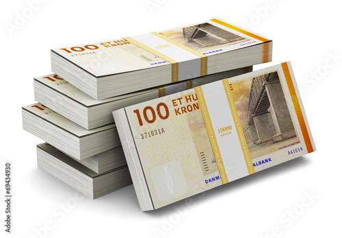 Stacks of 100 Danish krones Canvas-taulu