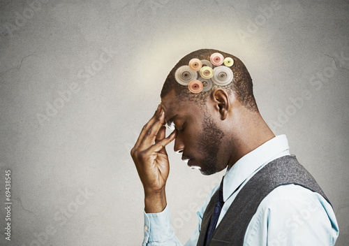 Side profile portrait man thinking hard with gear mechanisms Wallpaper Mural