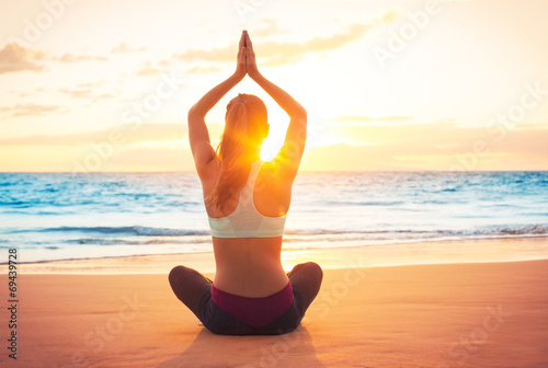 Yoga Woman at Sunset