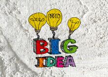 Big Idea Concept Light Bub On Cement Wall Texture Background Des