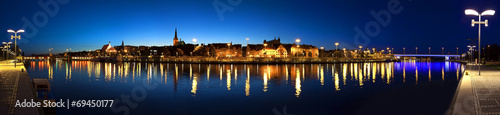 Panoramic view of Szczecin (Stettin) City at night, Poland.