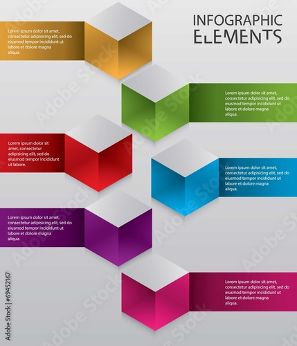 Illustration of modern abstract 3d cube infographic elements Tableau sur Toile