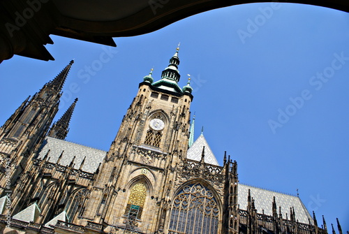 Fotografie, Obraz  Exterior facade view of  St. Vitus cathedral in Prague Castle