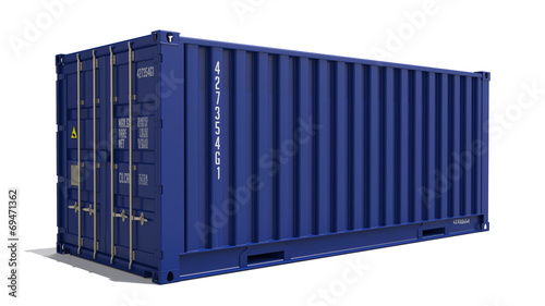 Photo Blue 3d Container Isolated on White.