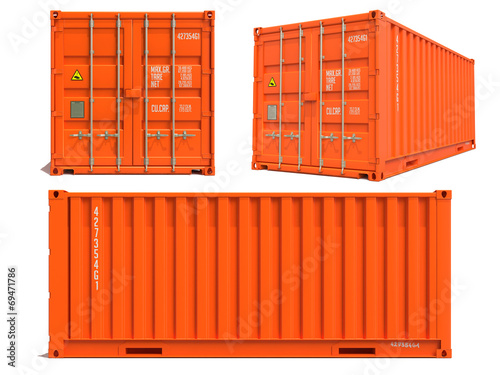 Fotografia  Orange Container in 3D Isolated on White.