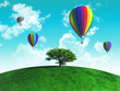 Hot air balloons with tree on grassy globe