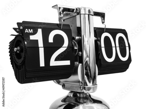 Fotografie, Obraz  Modern clock at twelve hours zero minutes.