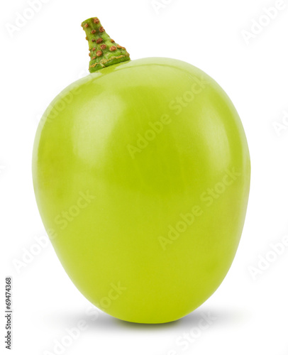 one green grape  isolated on the white background Fototapeta