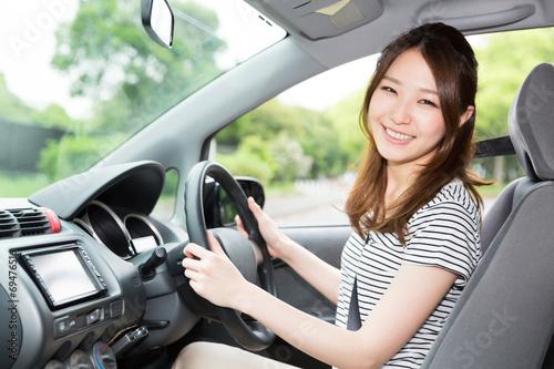 Fotografie, Obraz  女性と自動車