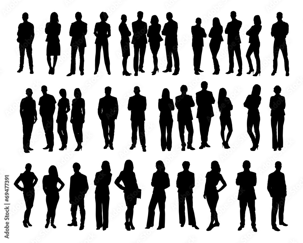 Fototapeta Collage Of Silhouette Business People