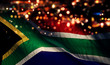canvas print picture - South Africa National Flag Light Night Bokeh Abstract Background