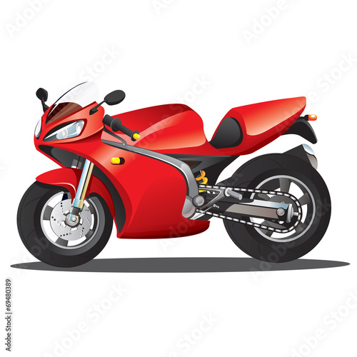 Poster Motocyclette Red Supersport Cartoon