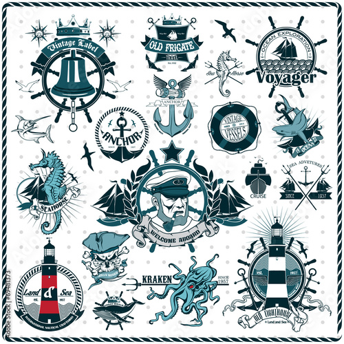 Fotografia  Set Of Vintage Retro Nautical Badges And Labels