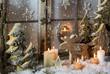 canvas print picture - Natürliche Weihnachtsdekoration mit Kerzen und Holz