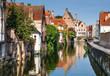 canvas print picture - Bruges canal, Flanders, Belgium
