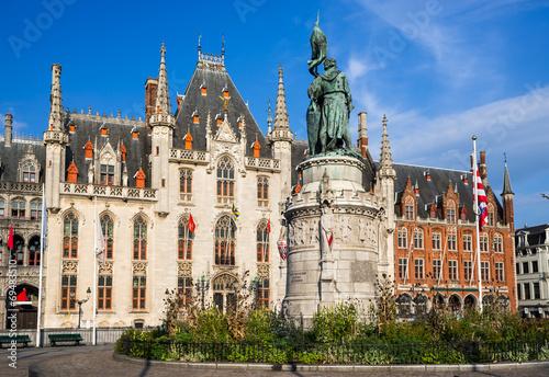 In de dag Brugge Grote Markt, Bruges, Flanders