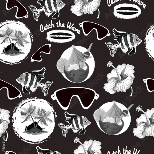 Cotton fabric Surfing seamless background