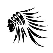 Head Of Indian Chief, Black Silhouette For Your Design
