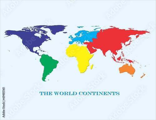 Fotografie, Obraz  World Continents in Color
