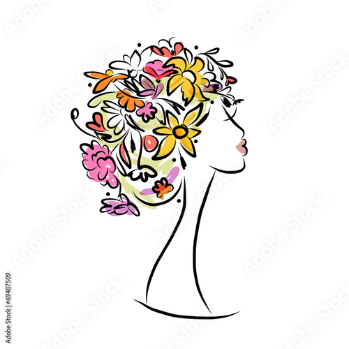Recess Fitting Floral woman Female profile with floral hairstyle for your design