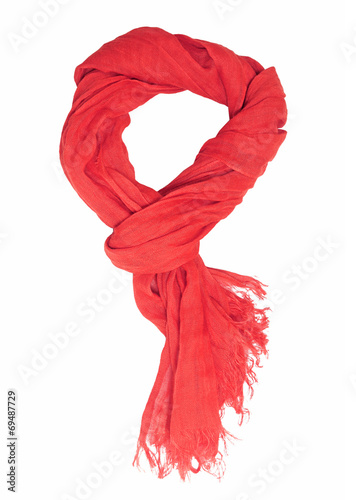 Fotografie, Obraz  red scarf  isolated on white