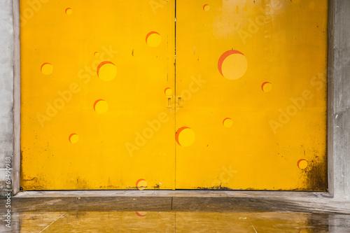 yellow metal door Poster