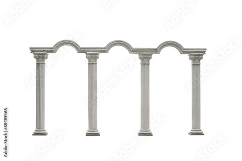 Fotografie, Obraz  Roman columns gate isolated on white with Clipping Path