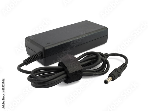 Fotografiet Laptop AC adapter isolated on white
