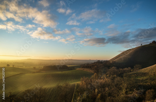 Tuinposter Blauwe jeans Stunning Autumn sunrise over countryside landscape