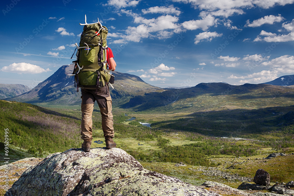 Fototapety, obrazy: Hiker in the Wilderness of Sweden