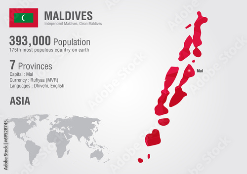 Maldives world map with a pixel diamond texture. - Buy this stock ...